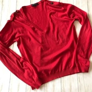 Burberry Red V Neck Sweater